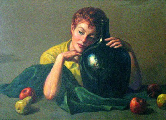 Red Head With Green Bottle