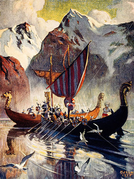 Viking Ship In Fjord