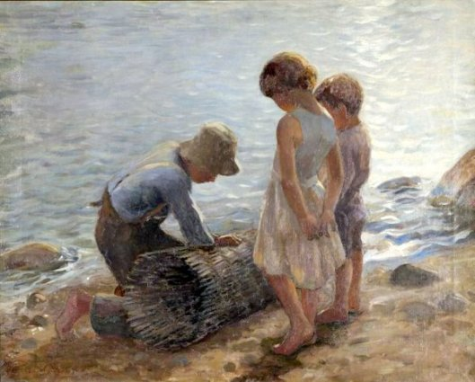 Children On Seashore With Lobsterman