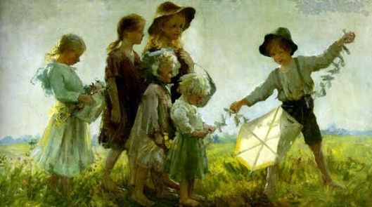 Children Playing With A Kite