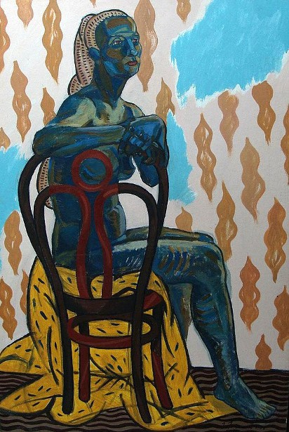 Nude Woman Sitting On A Chair With A Yellow Cloth
