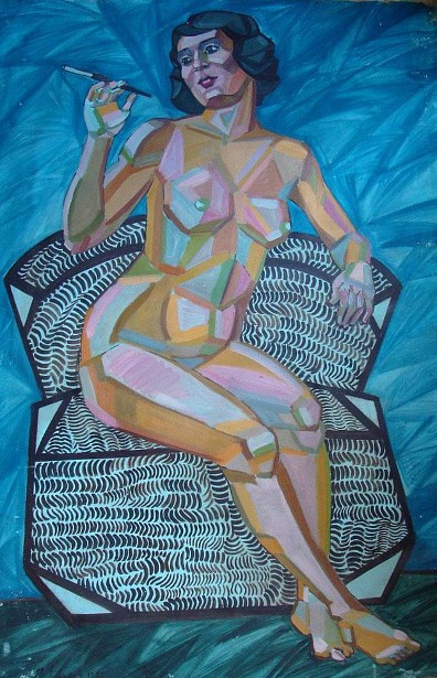 Seated Nude Woman Smoking