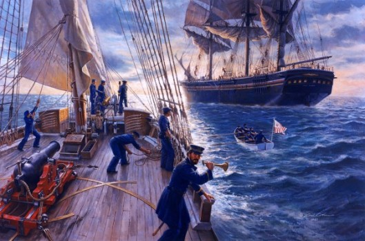 The Revenue Cutter Morris Prepares To Board The Passenger Ship Benjamin Adams On July 16, 1861