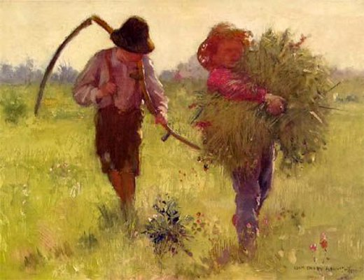 Two Boys With Flowers And Hay