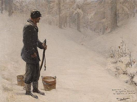A Man Hauling Buckets In A Snowy Landscape