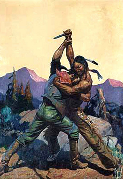 Cowboy And Indian In Close Combat