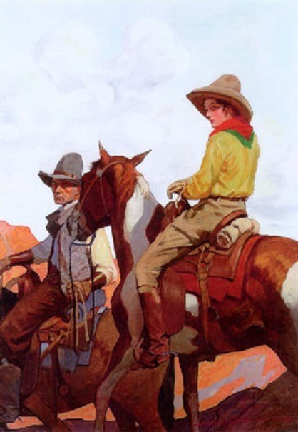 Cowboy Leading Horse With Bound Woman Rider