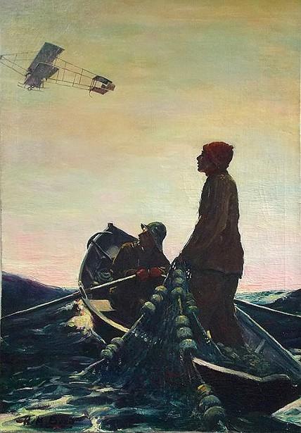 Fishermen Watching Airplane Overhead