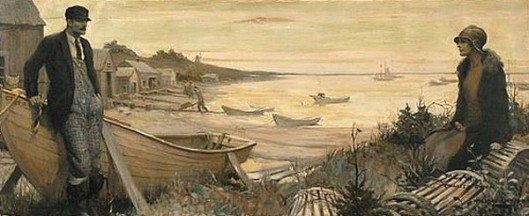 Panoramic Chatham View (Woman on the right is Artist's wife)
