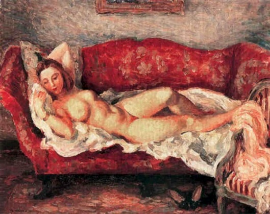 The Red Sofa - Nude Resting