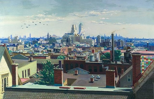 View Across The Newark Rooftops To New York