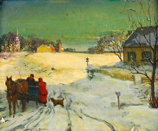 Winter Landscape With Horse-drawn Cart