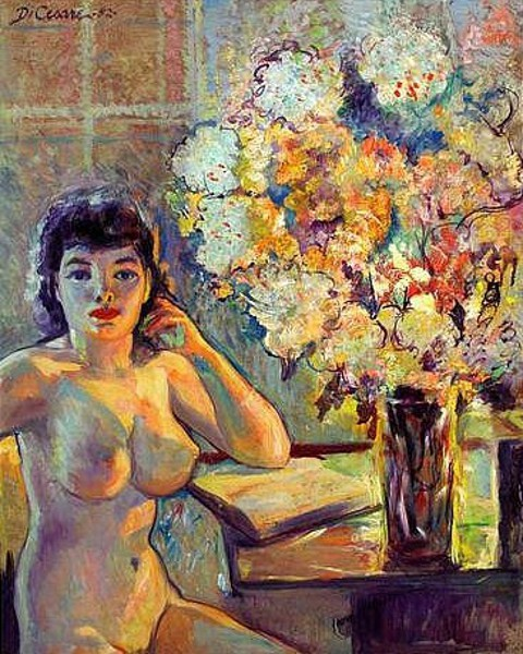 Nude Seated Next To Vase Of Flowers