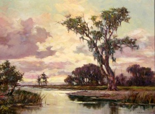 Swamp Scene With Heron