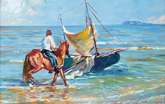 Girl Riding A Horse In Ocean Surf Near A Sailboat
