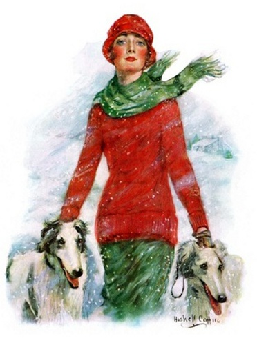 Lady Walking Dogs In Snow