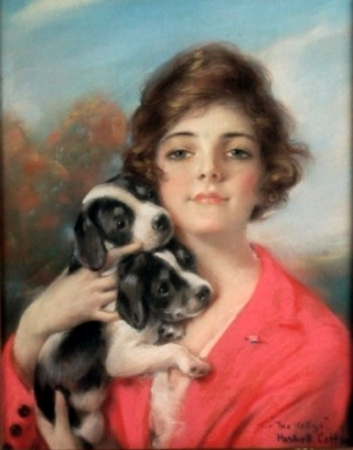 Lady With Two Puppies