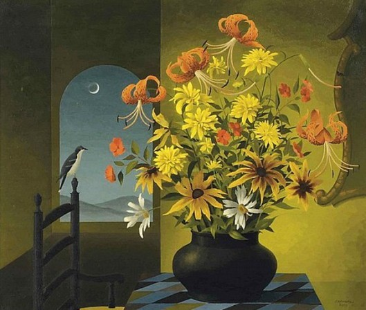 Still Life Of Flowers With A Bird At Nightfall
