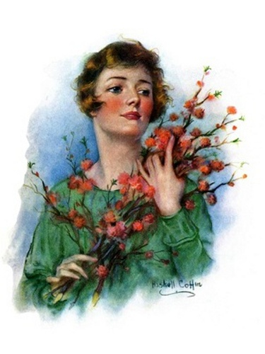 Woman And Flowering Twigs
