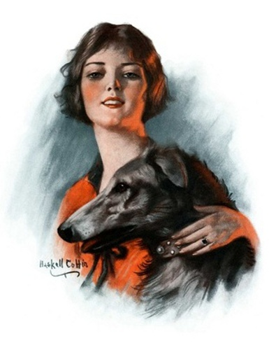 Woman And Wolfhound
