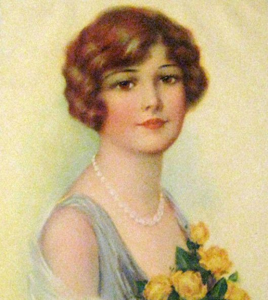 Young Lady With Yellow Roses