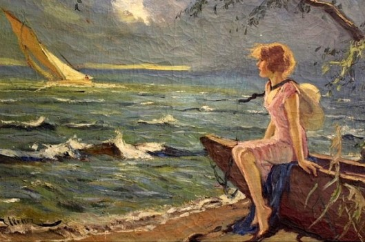 Girl On A Shoreline Watching A Sailing Boat