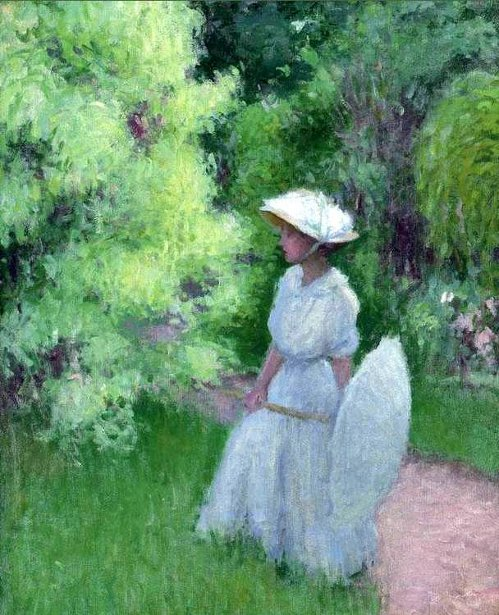 Girl With Umbrella In The Garden, Giverny - The Artist's Wife, Ethol