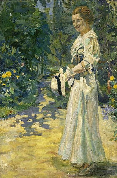 Lady In The Park With Hat In Hand