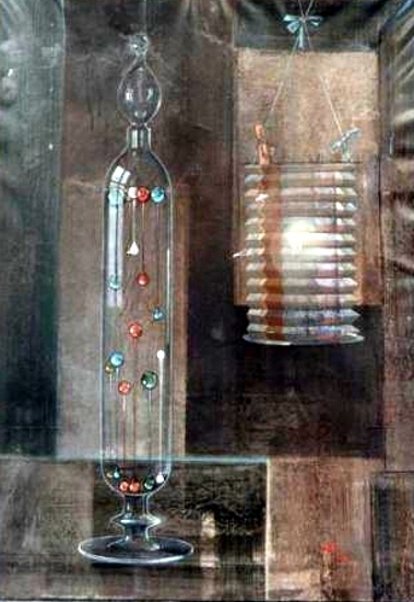 Surrealist Still Life With Barometer And Lantern