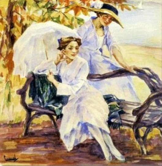 Two Ladies On A Bench