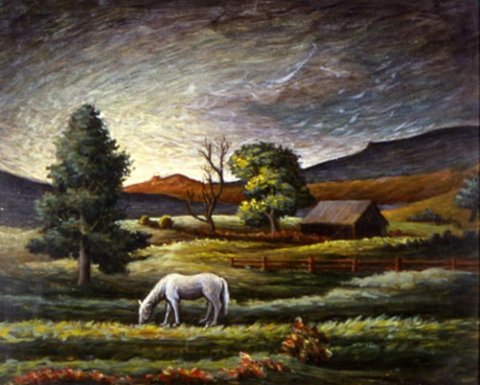 Landscape With White Horse