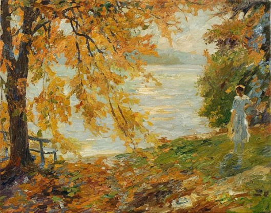 Woman At The Lake - Falling Leaves