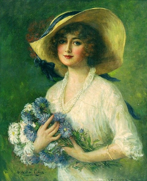 Young Woman Holding A Bouquet Of Flowers