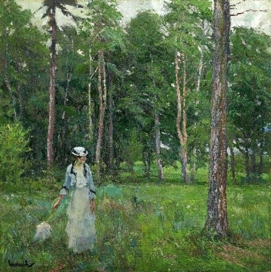 Young Woman In A Forest Clearing