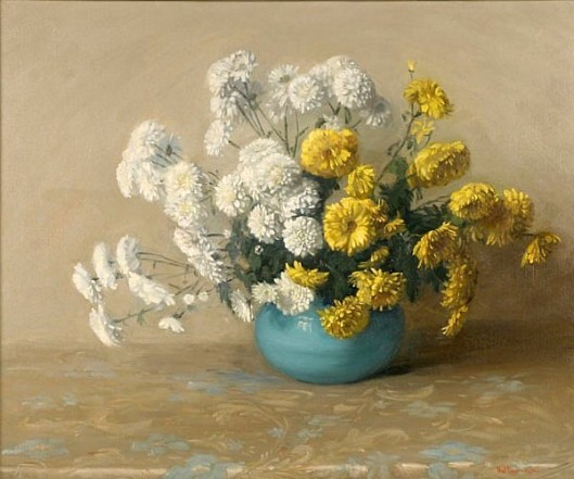 Floral Still Life With Chrysanthemums