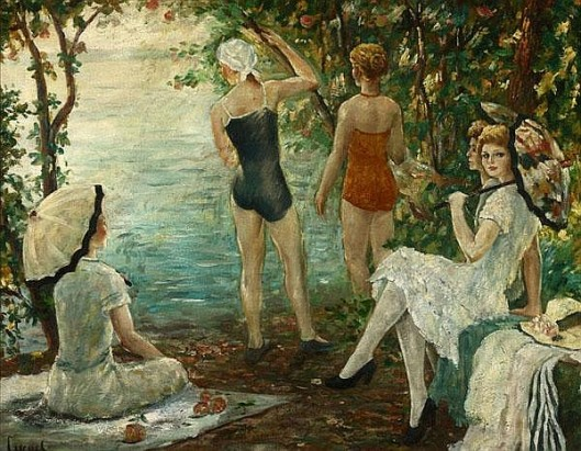 Ladies Lounging And Bathing Near A Lake