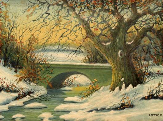 Winter Stream With Bridge