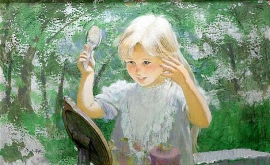 Young Blonde Girl Brushing Her Hair