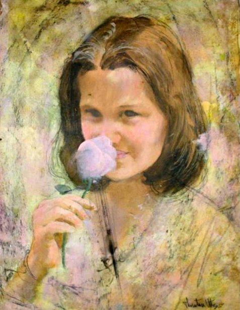 Young Girl Smelling Flower