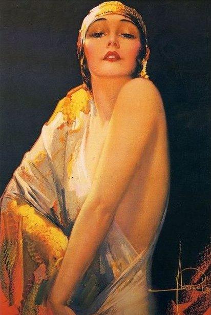 Dream Girl In Slinky Gold Dress