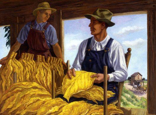 Farmers In The Graining Barn