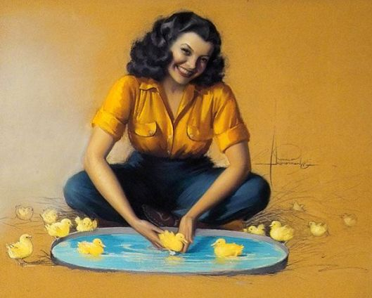 Here We Go - Seated Young Woman With Ducklings