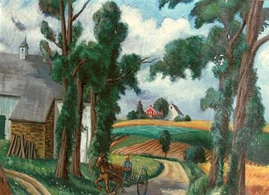 Horse And Driver In A Country Landscape