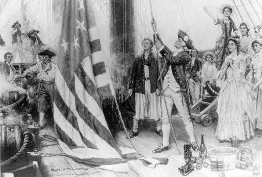 John Paul Jones Unfurling The Flag On The Ranger
