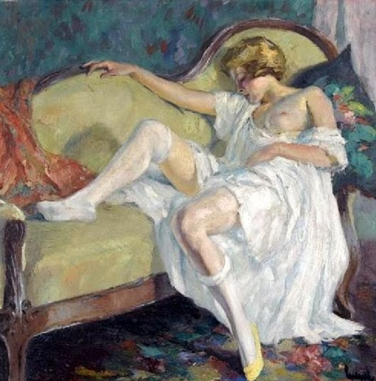 Lady Sleeping On A Green Sofa