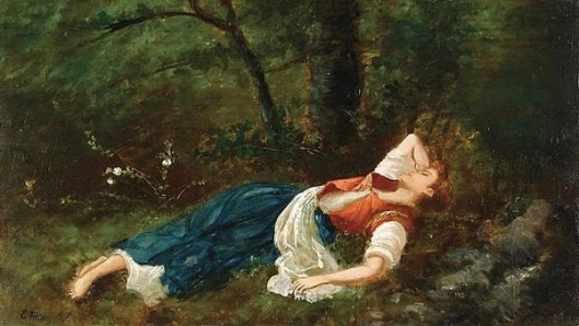 Reclining Young Woman In The Forest