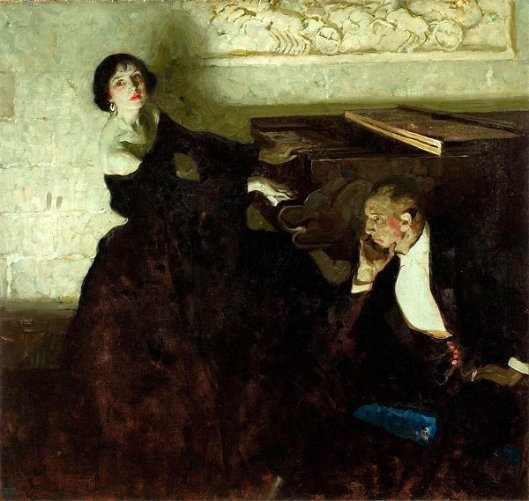 Romantic Couple Seated By Piano