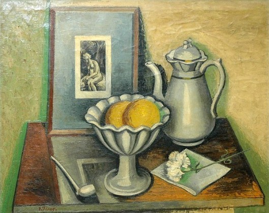 Still Life With A Pitcher, Bowl Of Fruit, Work Of Art And Other Items