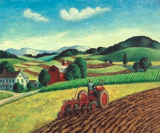 Summer Landscape With Tractor