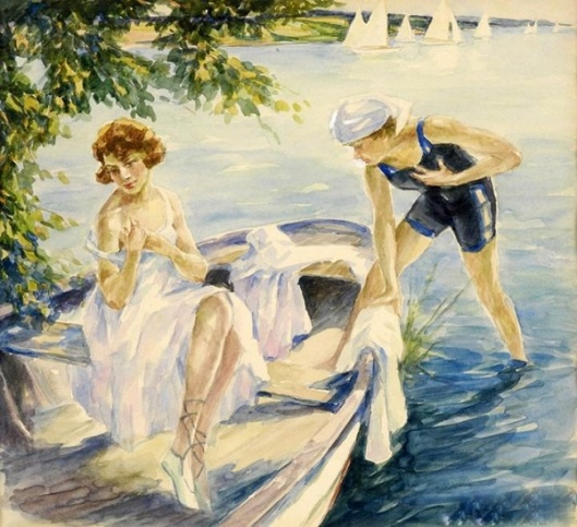 Two Bathers On The Lake